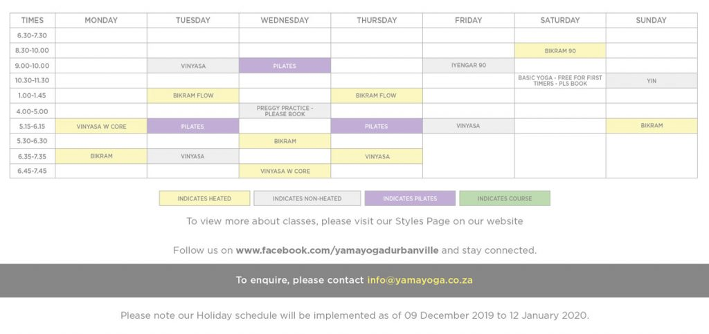 Yama Yoga Schedule