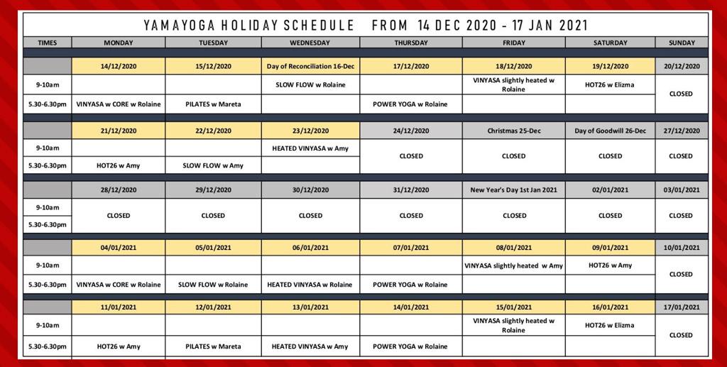Yama Yoga Holiday Schedule